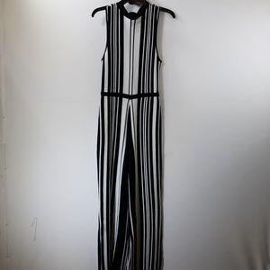 Guess Black/White Striped Wide Leg Jumpsuit S